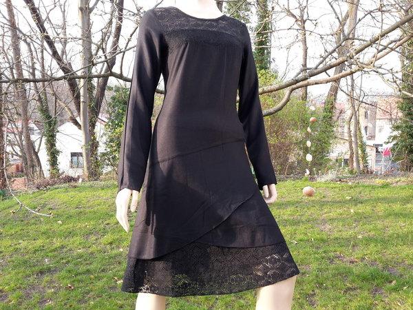Coline Kleid im Lagenlook schwarz Viskose Spitze langer ...
